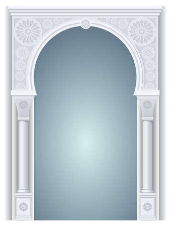 templo: arco arquitectónico en árabe u otro estilo oriental, entrada, puerta de entrada