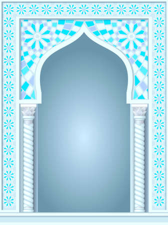 the temple: Architectural arch in Arabic or other Eastern style, entrance, doorway