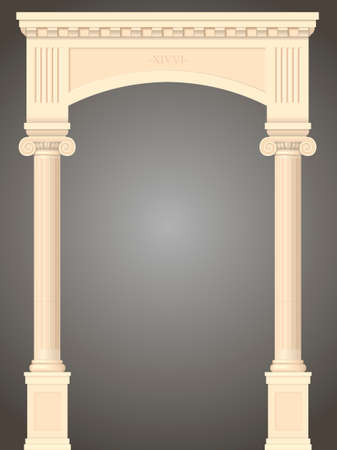 Classic antique portal with columns in graphics