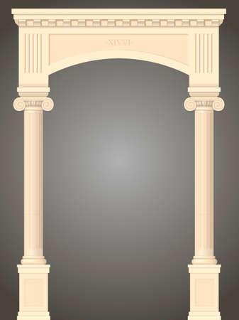 Classico antico portale con colonne in grafica