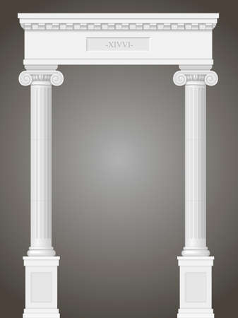 classicism: Classic antique portal with columns in graphics