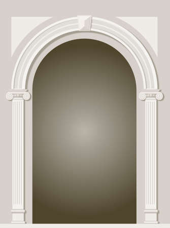 Classic antique arch portal with columns in graphics Illustration
