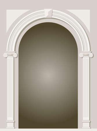 Klasyczny antyczny arch portal z kolumnami w grafice