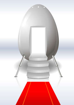 spaceport: Eggs from outer space in the form of a manned capsule with red carpet