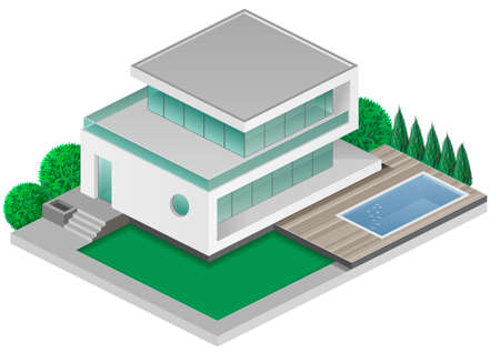 recreation: Isometric modern white villas with swimming pool in the yard