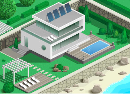 recreation area: Modern villa with pool and recreation area on the coast of the sea or ocean Illustration