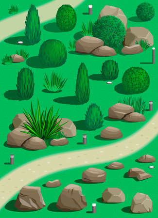 garden lawn: Set of plants and stones for landscaping in graphics