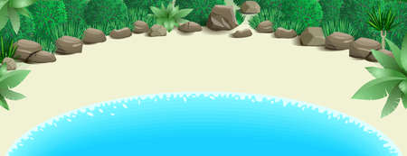 lake beach: Tropical beach with a bay surrounded by various plants