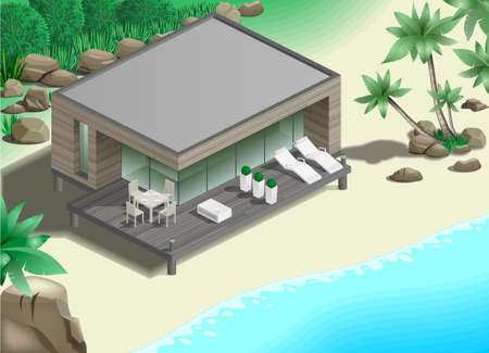 loungers: Modern bungalow on the ocean in the jungle
