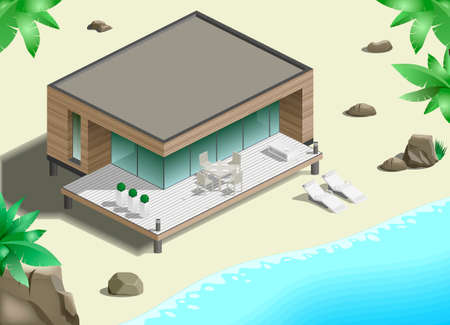 bungalow: Modern bungalow on the ocean in the jungle