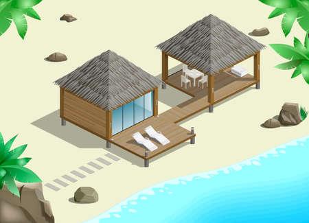 Moderne bungalow op de oceaan in de jungle Stock Illustratie