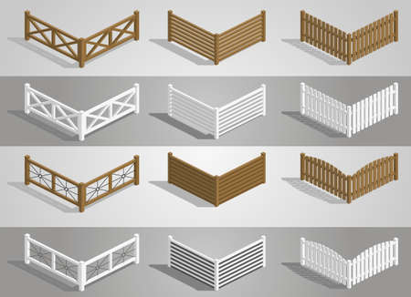 arched: Set of different sections of the fence in graphics