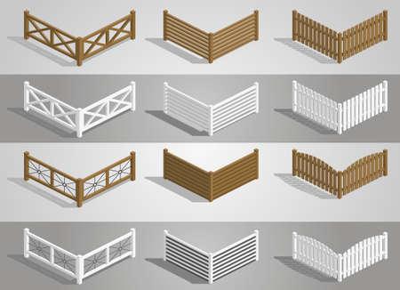 Set van verschillende delen van het hek in graphics Vector Illustratie