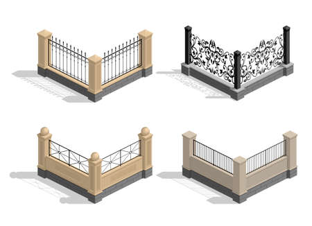 sections: Set of different sections of the fence in graphics