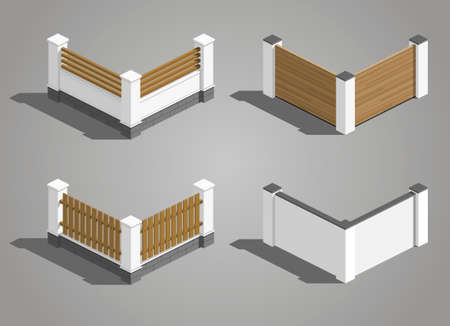 Set of different sections of the fence in vector graphics