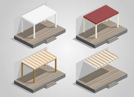 awnings: Set of canopies and awnings for the terrace house or cafe Illustration