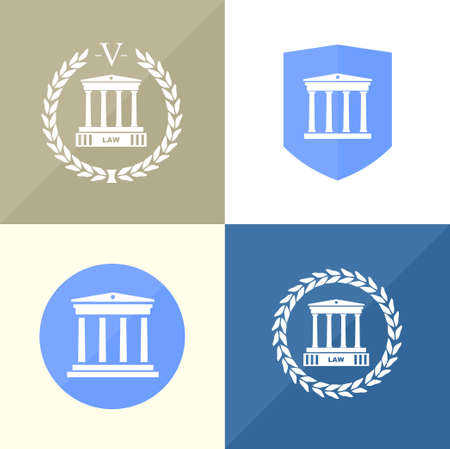 courthouse: A set of four icons for the notarys office with the silhouette of the courthouse Illustration