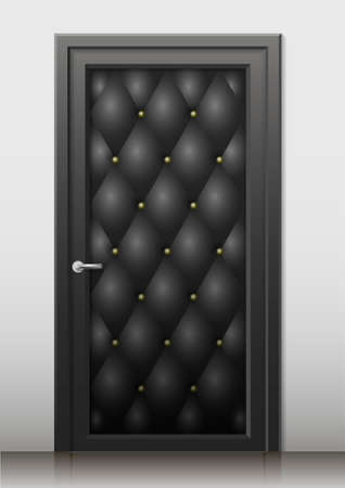 nickel: Black  door in the art deco style with a quilted leather trim in the interior