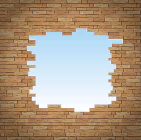 break: Break into the brick wall of the room. Background or texture Illustration