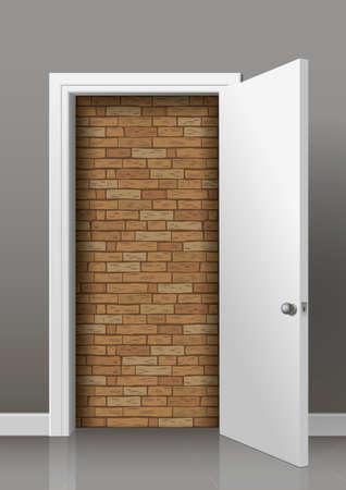 room door: Brick wall of an open white door of the room. Lack of access, Deadlock