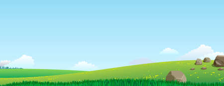 green hills: Panoramic views of the valley with green hills and stones on a sunny day
