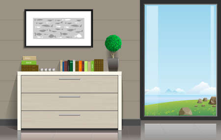 overlooking: Interior room with a chest of drawers, pictures and a panoramic window overlooking the valley and the ocean