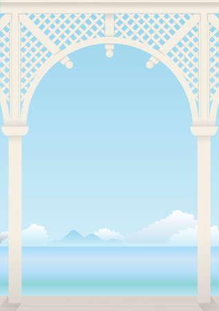Delicate Arch priëlen licht hout met een terras Stock Illustratie
