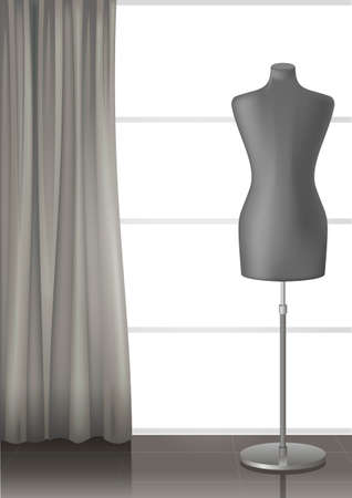 gloss: Mannequin for tailors in the interior of a modern studio with a large window and curtain