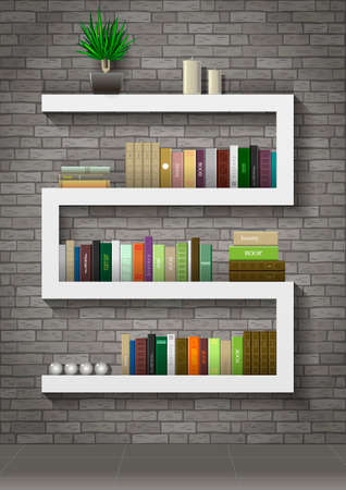 loft interior: Shelf with books in the interior of the loft on the background of a gray old brick wall. Vector graphics. Illustration