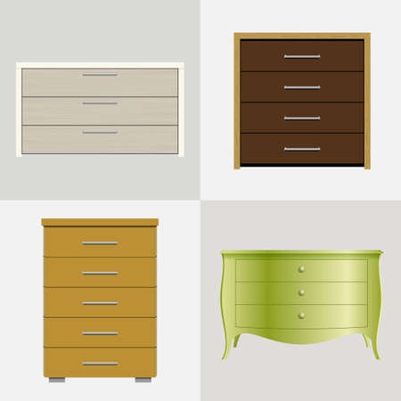 chipboard: Set of different drawers, wardrobes for clothes and linen