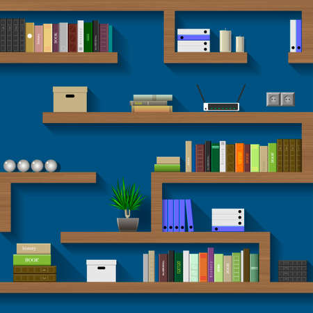 chipboard: The maze of bookshelves in an interior room on the blue wall
