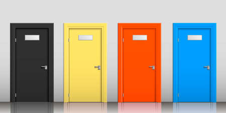 contrast: The doors of different colors with signs on a gray wall Illustration