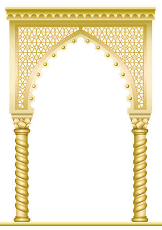 Golden arch with twisted columns in Arabic or other Eastern style