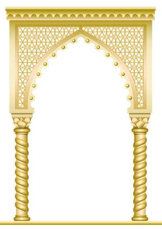 Gouden boog met gedraaide zuilen in het Arabisch of andere Oost-stijl