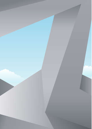steel bridge: Background with abstract architectural constructions of concrete against the sky Illustration