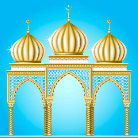 domes: Garden or religious building in the oriental style with golden domes and arched entrances