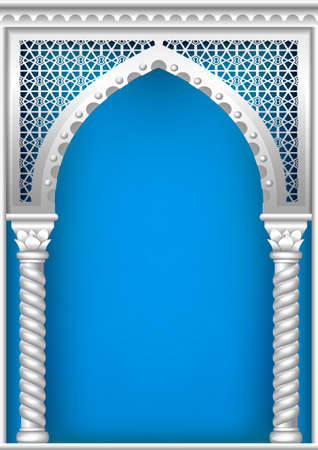 traditional silver wallpaper: Arch of silver in the oriental style with Arabic traditional ornaments