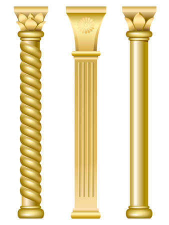 Three gold support columns in the style of oriental traditional architecture Ilustração