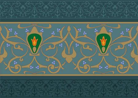 friso: patrón floral árabe en la forma de un friso, o banda de gráficos vectoriales