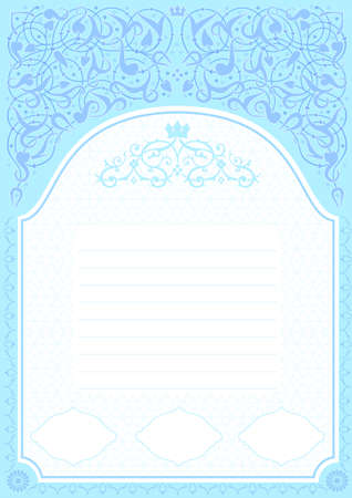 natural arch: Cover or certificate with frame in blue tones in Arabic or other Eastern style Illustration