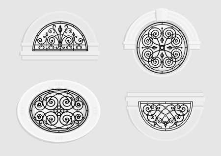 Set runde und gewölbte Fenster mit schmiedeeisernen Gittern in einem klassischen Stil