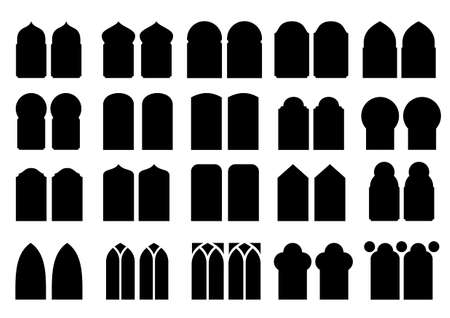 pilasters: A set of silhouettes of different classical and modern windows and doors of different shapes in vector graphics