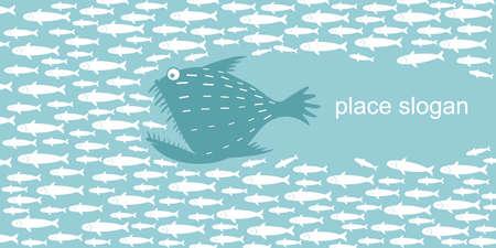 Les gros poissons prédateurs comme une chasse au pêcheur pour un troupeau de hareng et le sprat, horizontal Vecteurs