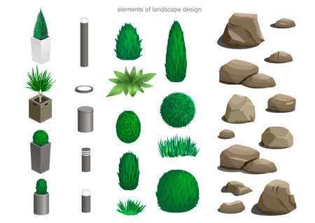 Set of landscape elements lamps, stones, flower beds, plants for the design of the garden or the park isometric Vector Illustration