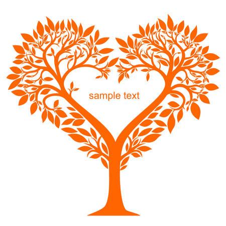 Árbol estilizado con hojas y flores en forma de corazón gráficos