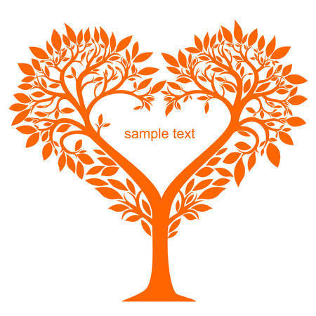 Stylized tree with leaves and flowers in the shape of a heart graphics Illustration