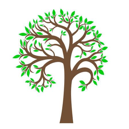 Der stilisierte Baum mit grünen Blättern in einer Grafik