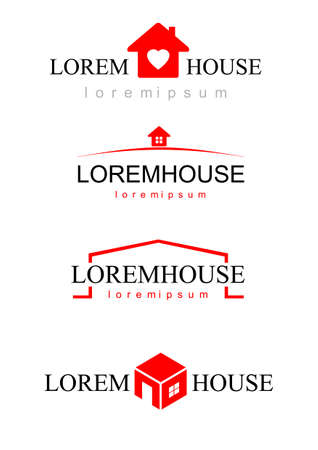 agencies: set of different icons pattern pieces for construction companies, real estate agencies, businesses. Silhouettes of houses