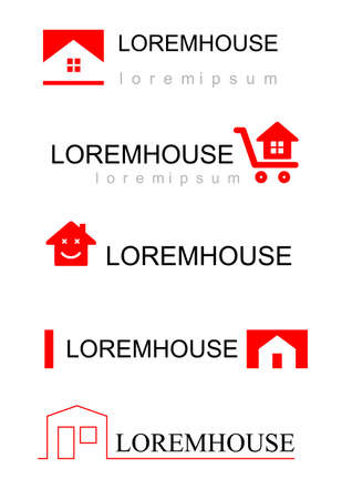 construction companies: set of different icons pattern pieces for construction companies, real estate agencies, businesses. Silhouettes of houses