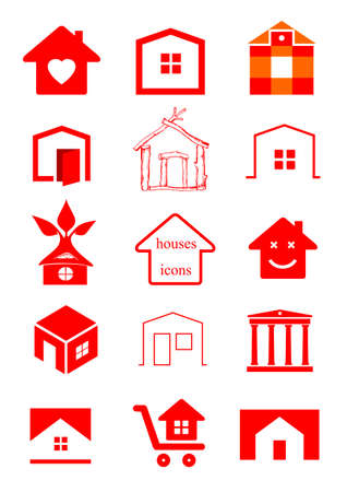 construction companies: set of different pattern pieces for construction companies, real estate agencies, businesses. Silhouettes of houses